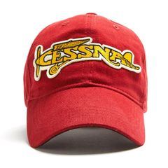 Cessna Vintage Logo Baseball Cap, Red HAT-0103