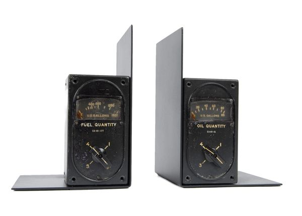 Genuine B-29 4-Way Fuel and Oil Gauges Bookend Set PI-0126