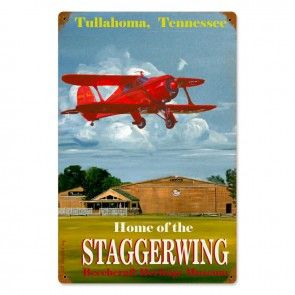 """Home of the Staggerwing"" (Beechcraft Model 17) Metal Sign SIG-0109SW"