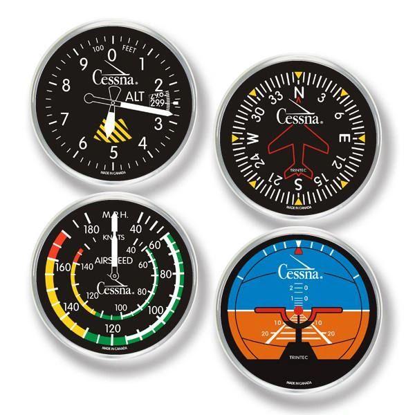 Cessna 4-Piece Round Acrylic Coaster Set ORB-0137