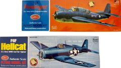 Pair of 2 Guillow's Balsa Wood Flying Model WWII Carrier-Based Airplanes GRP-0127