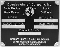 Douglas Aircraft Company Data Plate, Santa Monica Plant DPL-0119