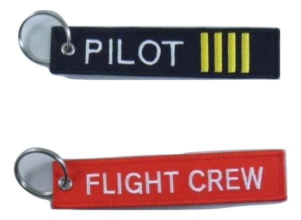 "2 Luggage Tags - ""Pilot"" and ""Flight Crew"" Aviation, Key Fob Chain KEY-0204"