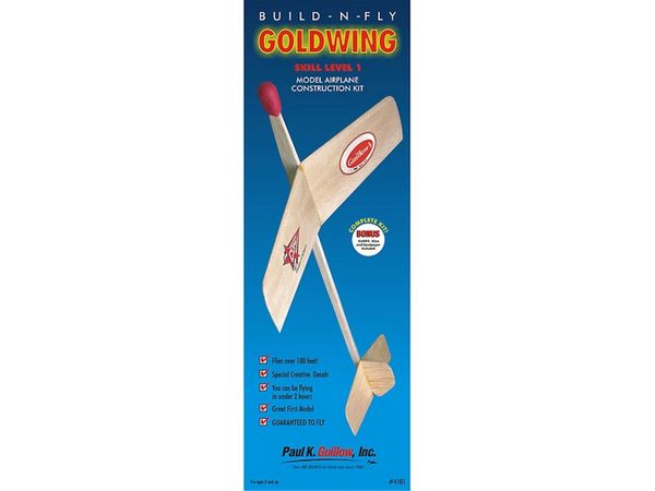 "Guillow's ""Gold Wing"" Build-N-Fly Balsa Wood Airplane Construction Kit GUI-4101"