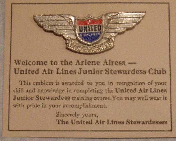 Vintage United Airlines Junior Stewardess Wings on Card WIN-0104