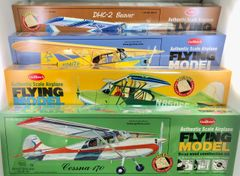 4 Classic Tail-Draggers, Balsa Wood Model Airplanes GRP-0137