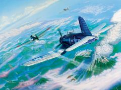 Joseph Szady Print, F4U Corsair, Big Hog Over Bagana""
