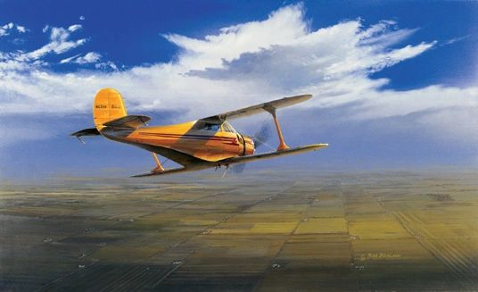"Ross Buckland Print, Beechcraft Staggerwing ""Wichita Classic"""