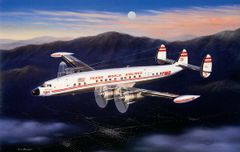 "Mike Machat Print, TWA Lockheed Constellation ""Evening Star"""
