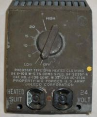 Heated Clothing Rheostat for High Altitude, Non-Pressurized WWII Aircraft INS-0109