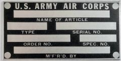 U.S. Army Air Corps Data Plate, New Old Stock DPL-0120