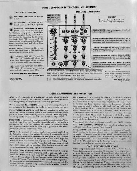 Original Pilot's Condensed Instructions - C-1 Autopilot LIT-0106