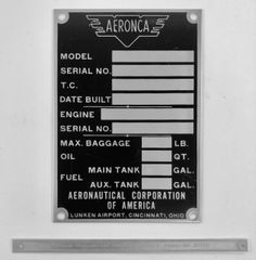2-Piece Aeronca Data Plate/Patent Number Placard GRP-0141