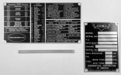 3-Piece Aeronca Data Plate/Placards Grouping GRP-0142