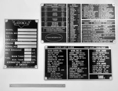 4-Piece Aeronca Data Plate, Checklist & Placards GRP-0143