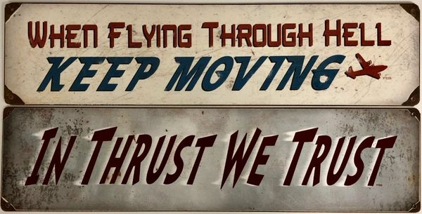 Set of 2 Metal Aviation Signs GRP-0146