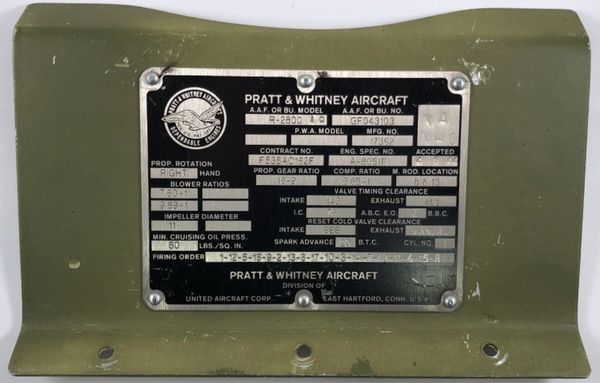 Original WWII Era Pratt & Whitney R-2800 10 Data Plate, Mounted DPL-0124