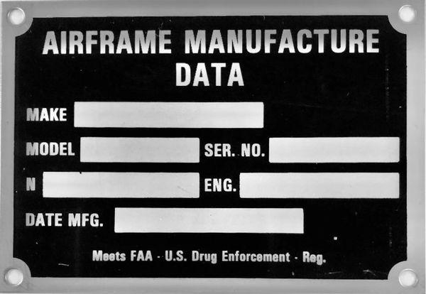 Airframe Manufacture Data Plate DPL-0121
