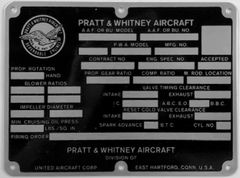 Original Pratt & Whitney Aircraft Engine Data Plate DPL-0113