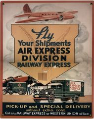 Railway Express Agency Air Express Metal Advertising Sign OUR-0107