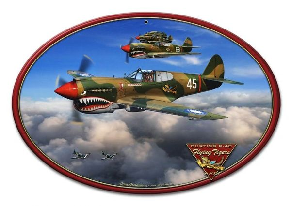 Flying Tigers Curtiss P-40 Warhawk Metal Sign SIG-0110