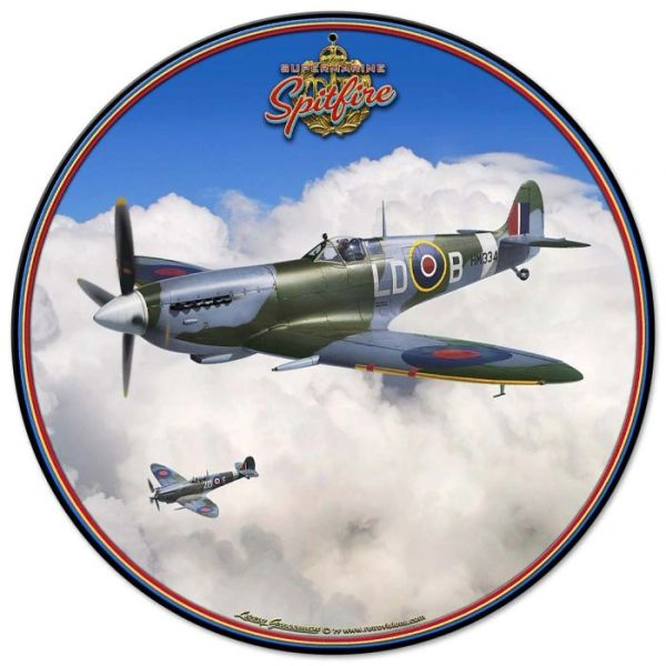 Supermarine Spitfire Metal Sign by Larry Grossman SIG-0172
