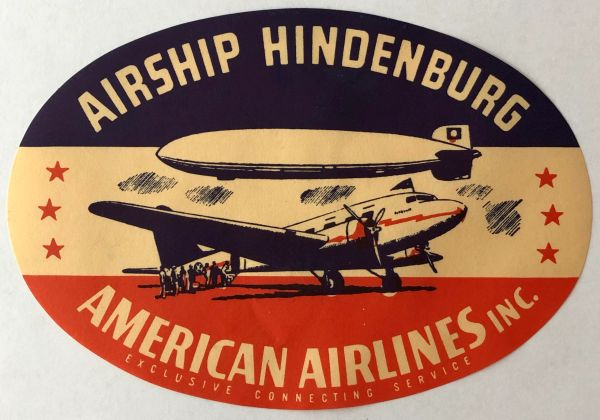 Original 1936 American Airlines DC-3/Hindenburg Luggage Decal DEC-0112