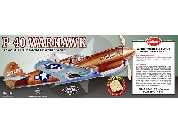 Guillow's Curtiss P-40 Warhawk Balsa Wood Model Airplane Kit GUI-405