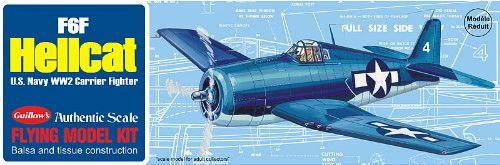 Guillow's Grumman F6F Hellcat Balsa Wood Model Airplane Kit GUI-503