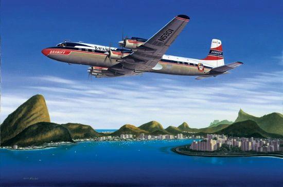 "Mike Machat Print, DC-7C ""Seven Seas to Rio"""