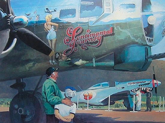 "Doug Kyes Print, B-17 Flying Fortress ""Sentimental Journey"""