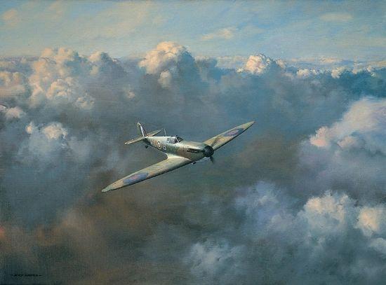 "Roy Cross Print, Spitfire, ""Flight of Freedom"" ROS-14"