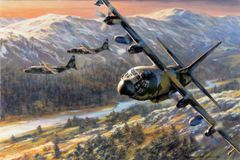 "Ronald Wong Print, MC-130H Combat Talon II ""Fence Check"""