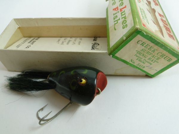 Creek Chub 5419 Surface Dingbat In Frog End Label Box + Catalog NEW IN BOX!
