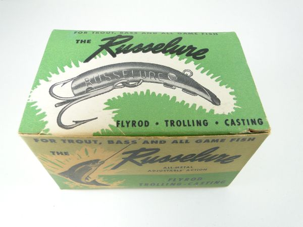 Russelure Fishing Lure ORANGE Fly Rod Dealer 6 pack box NEW OLD STOCK