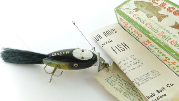 Creek Chub Dinger Perch Finish 5601 Unmarked Box with Catalog. Hangtag Still Tied on