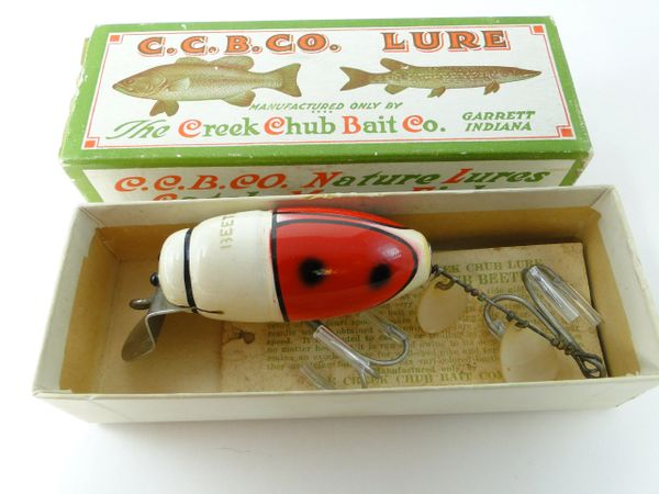 Creek Chub Beetle 3852 Fishing Lure with MILITARY STENCIL! EX+ IN LABEL BOX + Hangtag