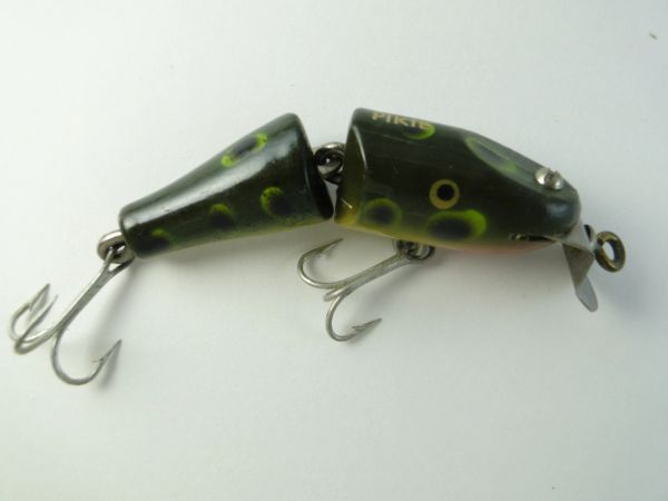 Creek Chub 9419 WOOD Jointed Spinning Pikie Minnow in Frog Finish