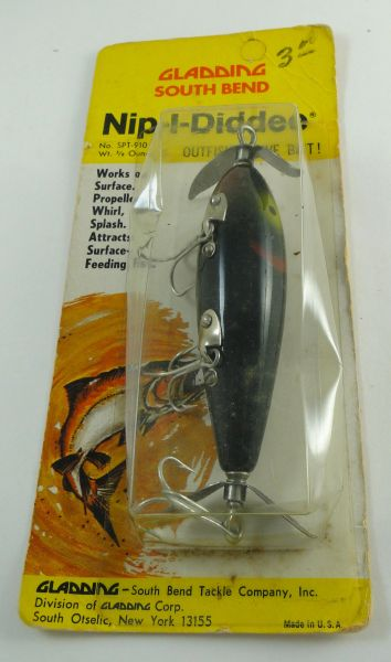South Bend Nip-I-Diddee T910 BRG BLACK WITH RED GILLS Wood Treble Rigged Fishing Lure NEW in Correct Box