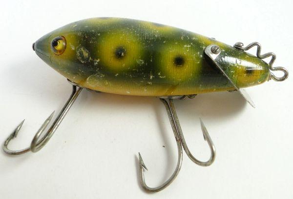 Heddon Crab Wiggler Frog Spot Wood Glass Eye Fishing Lure