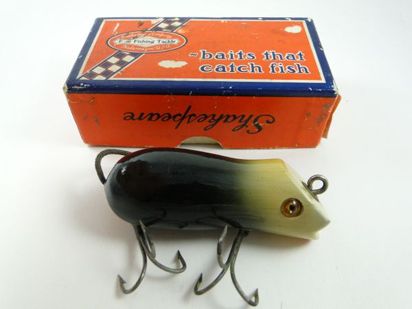 Shakespeare Early Glass Eye Swimming Mouse Black White In Box with Papers