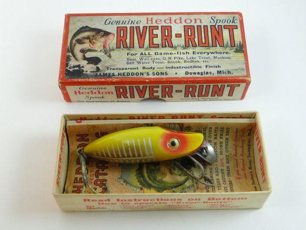 Heddon 9119 XRY Gold Eye River Runt Spook Sinker 2 Piece Hardware EX+ IN EARLY BOX + Catalog