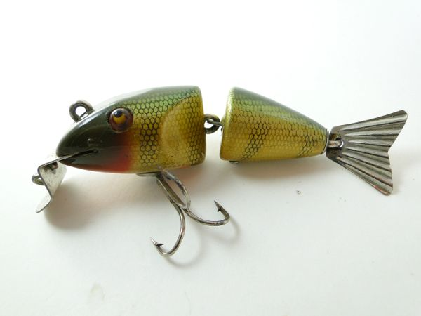 Creek Chub 2501 Baby Wigglefish in PERCH with Hand Painted Fins VERY EARLY ONE! & SUPER NICE! 1925-1933