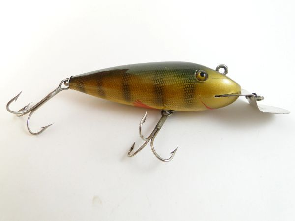 Creek Chub Early 101 Wiggler Perch Hand Painted Gills & Fins Unmarked Lip EX