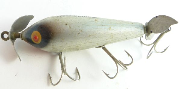 Neal Underwater Minnow Early Model Aluminum Props Clear Stencils Perfect Raised Eyes Columbus Indiana