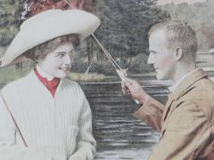 "Amazing Postcard ""A GOOD CATCH"" Fishing Scene OVER 100 YEARS OLD! Beautiful!"