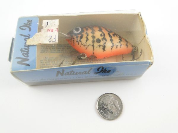 Lazy Ike Natural Ike Fishing Lure NEW in Box with Paper and Line Attachment