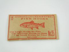 Vintage Fish Hooks in Collectible Old Packaging No.25 German Razor Steel