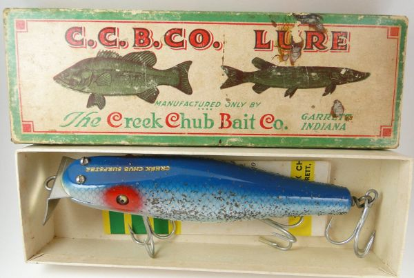 "Creek Chub 7334 R Blue Flash Husky Surfster NEW IN BOX! BEAUTIFUL SALTWATER LURE! Circa 1953 6"" Saltwater Lure"
