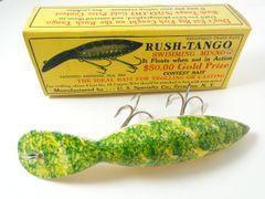 Rush Tango Mottled Green Finish Wood Fishing Lure in Box!